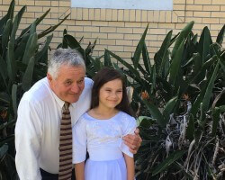 With my granddaughter on her baptism day and birthday in Brisbane Australia