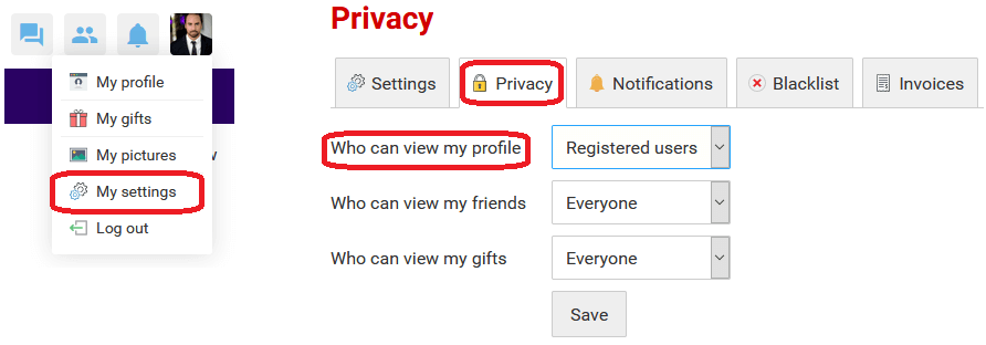 Truelds LDssingles privacy settings