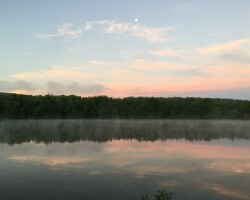 Allegheny River-early morning summer mist a rising
