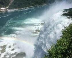 Rainbow at the falls—-Goat Island at Niagara.